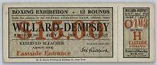 1919 Willard vs Dempsey  heavyweight boxing ticket full ticket authentic RARE