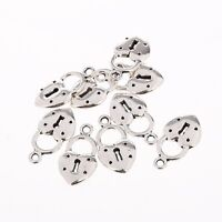 10PCS Tibetan Silver Lock and Heart Bead Charms Pendant Fit DIY Jewelry 20*10mm