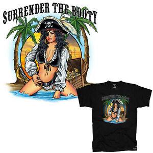 Pirati T-Shirt Pinup Ragazza Spiaggia Party Funshirt Surfer Slogan 3190 Black
