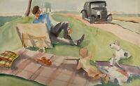 Charlotte Zurek 1910-1971 Maler in der Natur Vater Baby Hund Sommer Oldtimer