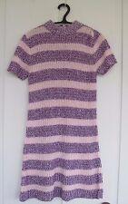 1960s Sweater Dress Minidress Orlon Open Knit Pink Purple Mod Go Go Cool!