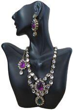 Purple Green White Kundan Necklace/Earrings/Tikka Jewelry Set