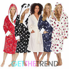 Womens Supersoft Fleece Winter Dressing Gown Ladies Hooded Animal Print Robe