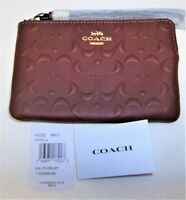 COACH Corner Zip Wristlet ~ Raised Signature Leather F67555 IM/ WINE $98.00 NWT