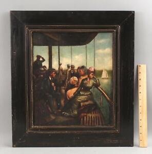Antique EG LEWIS American Oil Painting Passengers Riverboat Steamboat, NR