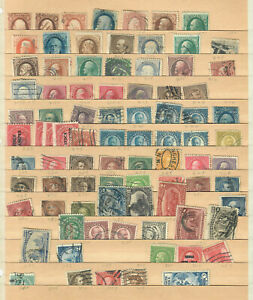 US COLLECTION of USED 19th and EARLY 20th CENTURY STAMPS on a STOCK BOOK PAGE!