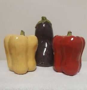 Lot of 3 Ceramic Glazed Vegetables Home Decor Bell Peppers and Eggplant