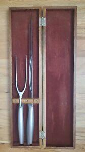 Vintage Gerber Excalibur Legendary Blades 2 Pc. Carving Set Red Velvet Lined Box