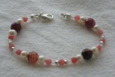 Hand Crafted Bracelet Red Striped Agate Fresh Water Pearl Strawberry Quartzite
