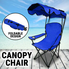 Canopy Chair Foldable W/ Sun Shade Beach Camping Folding Outdoor Fishing Blue