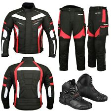 Motorcycle Motorbike Textile Jacket Trouser Racing Suit Real Leather Shoes Black