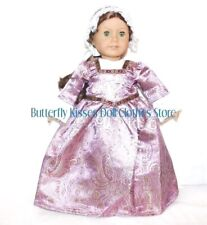 "Lavender & Lace Colonial Gown+Mob Cap 18"" Doll Clothes Fits American Girl Dolls"