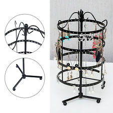 360 Rotating Earring Holder Stand Wrought Iron Jewelry Organizer Display Rack