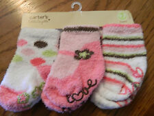 NWT Carter's girl 3pk of socks multicolored and multiple designs; size 0-3m