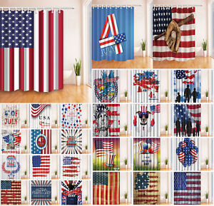 USA Flag Independence Patriotic Day Fabric Shower Curtain Bathroom Waterproof