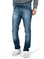 Nudie Herren Slim Fit Stretch Jeans Hose Thin Finn Black Weft Indigo Used Look