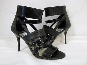 Michael Kors 7.5 M Shiloh Black Leather Open Toe Heels New Womens Shoes NWOB