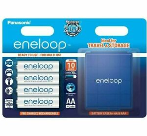 Panasonic Eneloop Rechargeable AA 1900mAh NiMH Batteries - 4 Pack with Case