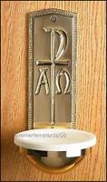 """Catholic Church Brass Chi Rho Holy Water Font 3 1/4""""W x 9 1/2""""H x Bowl: 5 1/2""""D"""
