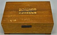 Vintage Wooden Jewelry Trinket Box-Carved Flowers-Cloth Lined-Mirrored Flip Lid