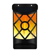 EE_ Solar Power Wall Flame Light Outdoor Lawn 66 LED Waterproof Flickering Lamp