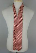 "ERMENEGILDO ZEGNA Orange Blue White Striped 100% Silk Mens Luxury Tie - 60x3.5"""