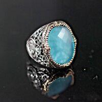925 Sterling Silver Handmade Authentic Turkish Aqua Marine Men's Ring Size 8-12