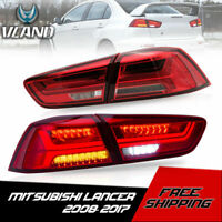 VLAND LED Tail Lights Red Smoked Sequential For 08-17 Lancer CJ CF EVO X Sedan