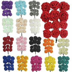 Colourfast Foam Roses - Artificial Fake Flowers Wedding Bridal Quality Soft