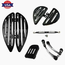 BLACK HEEL SHIFT LINKAGE DRIVER PASSENGER FLOORBOARD PEDAL FIT FOR TOURING DYNA