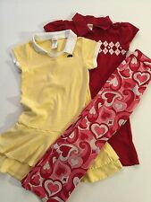 LOT Girl's GYMBOREE Yellow Cotton Red Argyle DRESS & GROOVY VALENTINE Pants 7 8