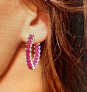 7.33 ctw Niassa Ruby Hoop Earrings in Platinum Over Sterling Silver