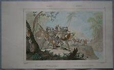 1836 print BATTLE OF CANNIBALS, BORNEO, INDONESIA (#61)