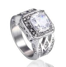 Cubic Zirconia Band 16Mm Size 7-13 Fashion Men's Gold Plating Crystal Ring Retro