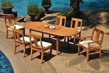 "7pc Grade-A Teak Dining Set 94"" Oval Table 6 Osborne Chair Outdoor Patio"