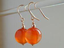Beautiful Large Natural Carnelian Gemstones & 14K Rolled Rose Gold Drop Earrings
