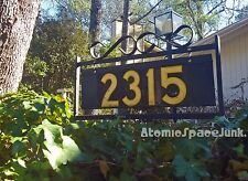 MID-CENTURY HOUSE NUMBER SIGN WROUGHT IRON YARD PLAQUE METAL MICA NUMBERS