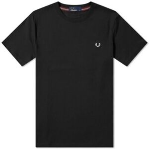 Fred Perry Polo Black Crew Neck Tee Shirt M6334 102 S M L XL Classic Regular
