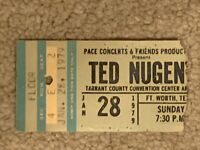 Ted Nugent 1-28-1979 Concert Ticket Stub Tarrant County Convention Center Arena