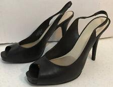 Nine West Size 8 Women's Nude Leather Sling Back Peep Toe Heels Pumps