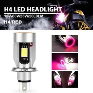 Motorcycle LED H4 9003 HB2 HS1 25W Headlight Bulb Angel Eye Red Light Hi/Lo Beam