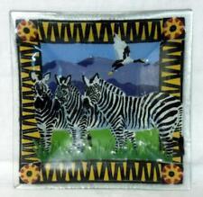 Peggy Karr Fused Glass Zebra Tray Signed