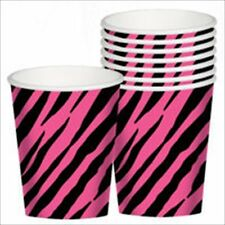 ZEBRA STRIPES Pink and Black 9oz PAPER CUPS (8) ~ Birthday Party Supplies Animal