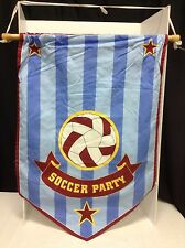 Pottery Barn Kids Soccer ball Party Banner MLS hanging wood flag sign red blue