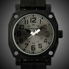 INFANTRY INFILTRATOR Mens Quartz Wrist Watch Police Style Black Rubber Outdoor