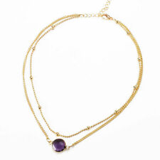 ❤️Necklace 9ct Gold Over Round Amethyst ❤️ Pendant Gift UK FREE Postage Silver❤️