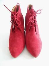 ZARA WOMAN Red Lace Up Wedge Ankle Boots Size 5/38 NEW