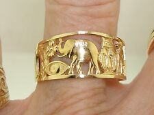 BEAUTIFUL 14K SOLID GOLD GOOD LUCK SYMBOLS BAND RING! NEW WITHOUT TAGS SZ 9