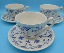 3 x Cups & Saucers Vintage Myott Finlandia Blue and White Fine Staffordshire