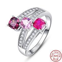Spessartine Garnet Pink Topaz Ruby 100% 925 Sterling Silver Ring Sz L½ N½ P½ R½